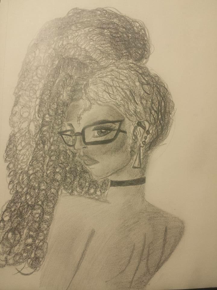 Nerdy girl drawing